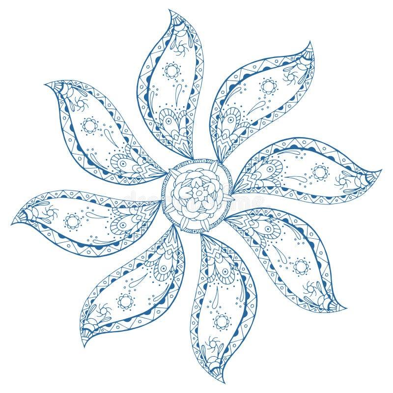 Mandala azul de Paisley stock de ilustración