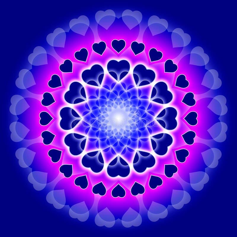 Mandala azul do amor - círculo dos corações ilustração do vetor