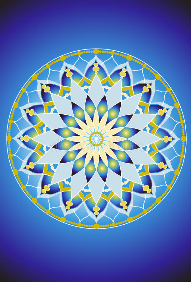 Mandala azul e verde 1 da flor ilustração royalty free
