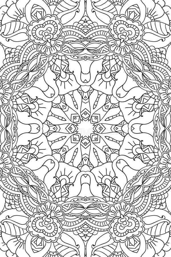 Mandala background. Ethnic decorative elements. Hand drawn . Coloringg book for adults. Mandala background. Round Ornament.. Coloring book for adults. Oriental royalty free illustration