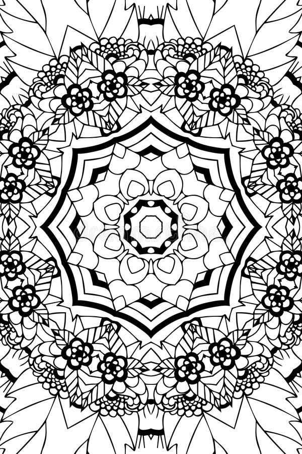 Mandala background. Ethnic decorative elements. Hand drawn . Coloringg book for adults. Mandala background. Round Ornament.. Coloring book for adults. Oriental stock illustration