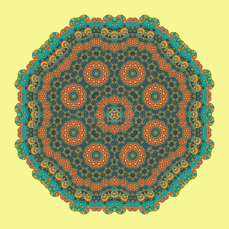 Mandala Background verde para la tarjeta de felicitación stock de ilustración