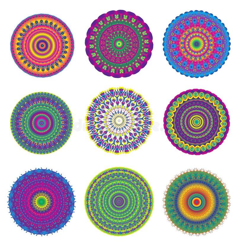 Mandala barwiący set Geometryczny okręgu element Mandala dla dekoracj wakacyjnych kart, tła i miejsc, kolorowe mandala Kalei ilustracji