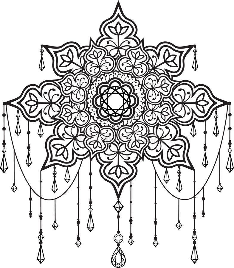 Mandala with beads and crystals. Tribal ethnic mandala with beads and crystals vector illustration