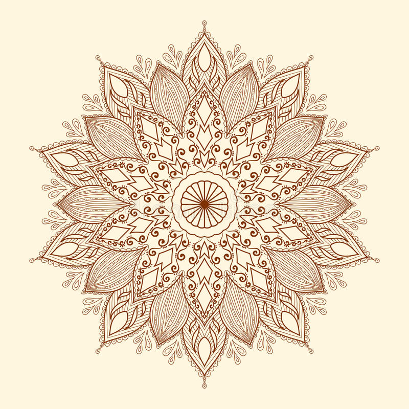 Mandala. Beautiful hand-drawn flower. stock photo