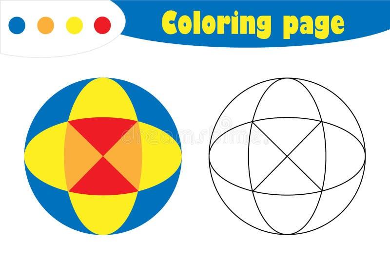 Mandala in beeldverhaalstijl, kleurende pagina, het document van het de lenteonderwijs spel voor de ontwikkeling van kinderen, jo royalty-vrije illustratie