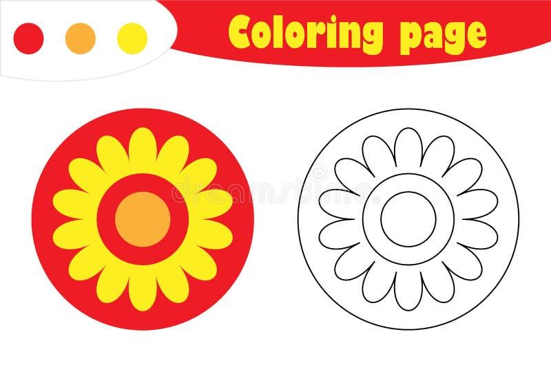 Mandala in beeldverhaalstijl, kleurende pagina, het document van het de lenteonderwijs spel voor de ontwikkeling van kinderen, jo stock illustratie