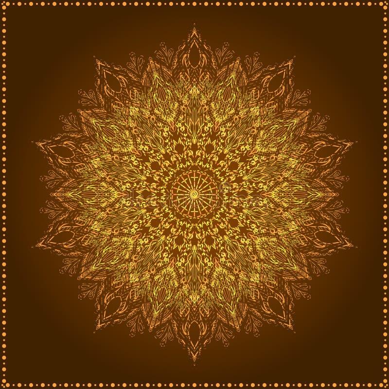 Mandala. Bello fiore disegnato a mano. illustrazione di stock