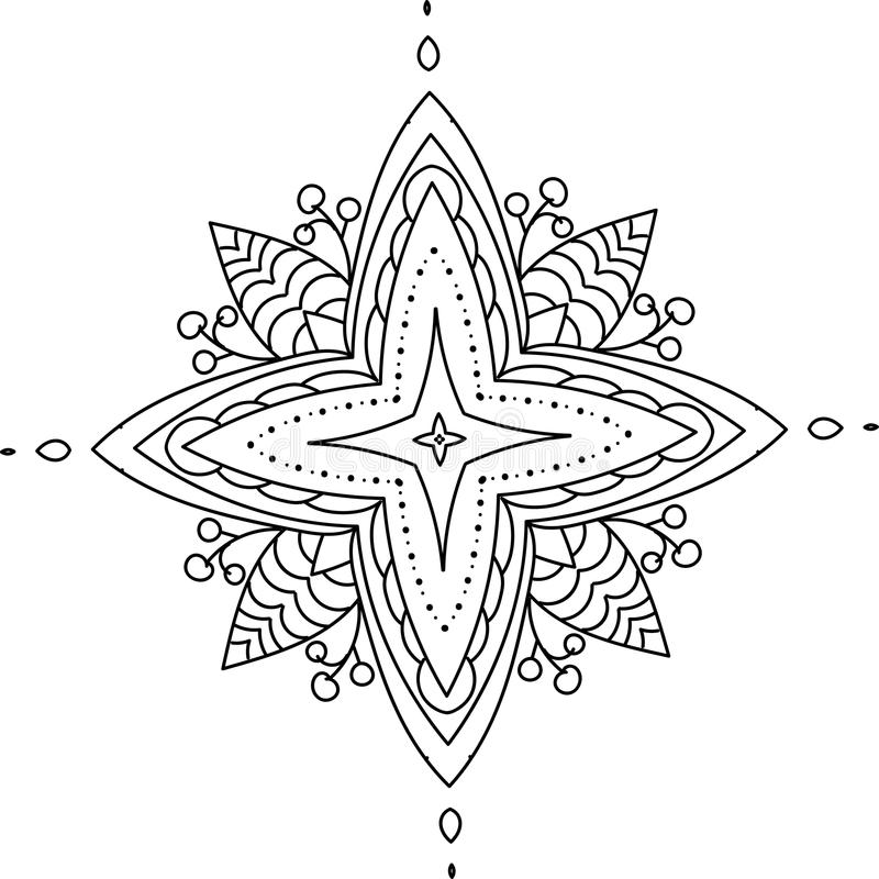 Mandala with berries. Can be used as a tattoo sketch, coloring pattern or a part of a pattern royalty free illustration