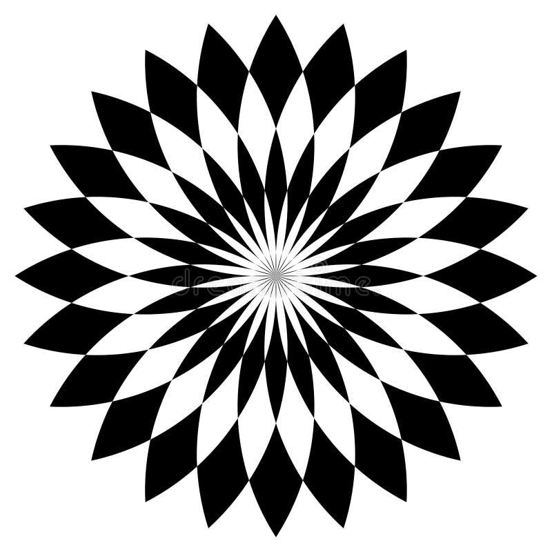 Mandala in bianco e nero Fiore, grafico illustrazione di stock