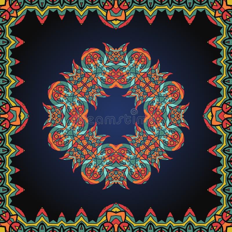 Mandala binnen grens Overladen kader met Paisley stock illustratie