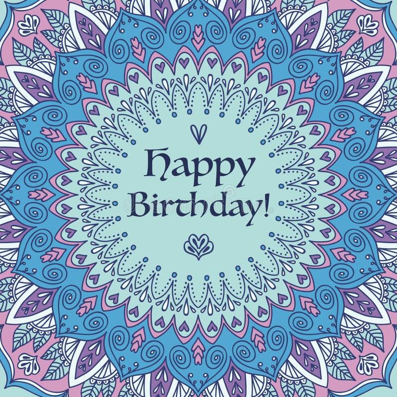Mandala Birthday Card. royalty free stock photo