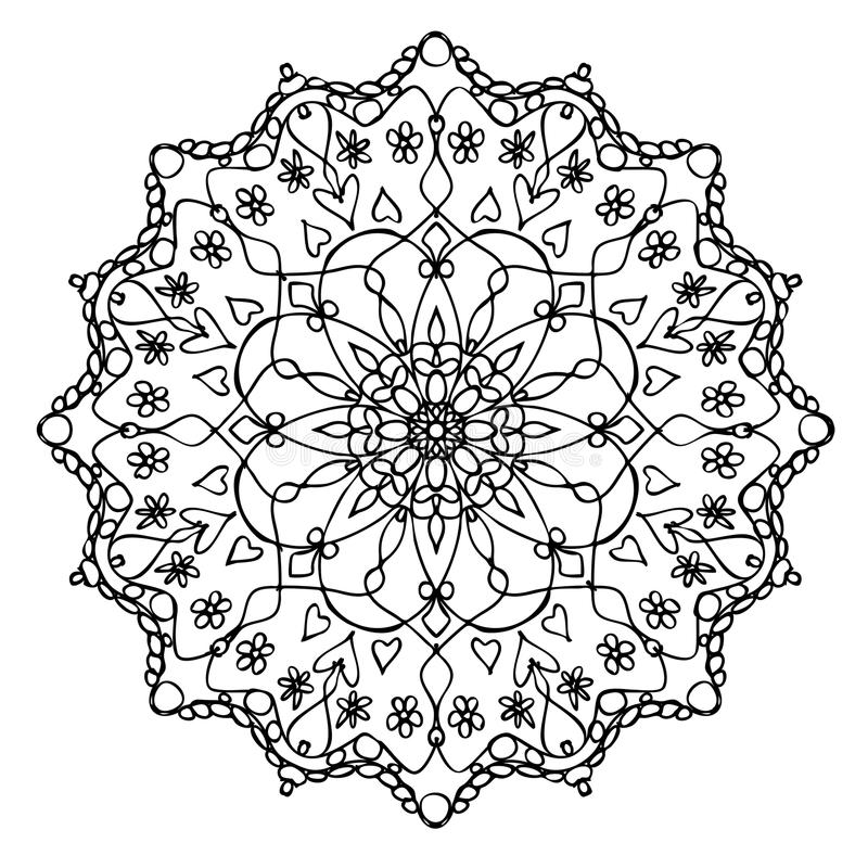 Mandala Black e branco ilustração royalty free