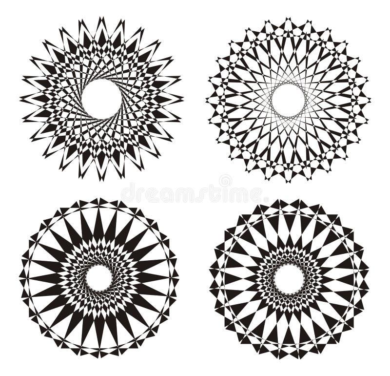 Mandala Black e branco Fundo do projeto Abstraia o ornamento Prática espiritual ilustração stock