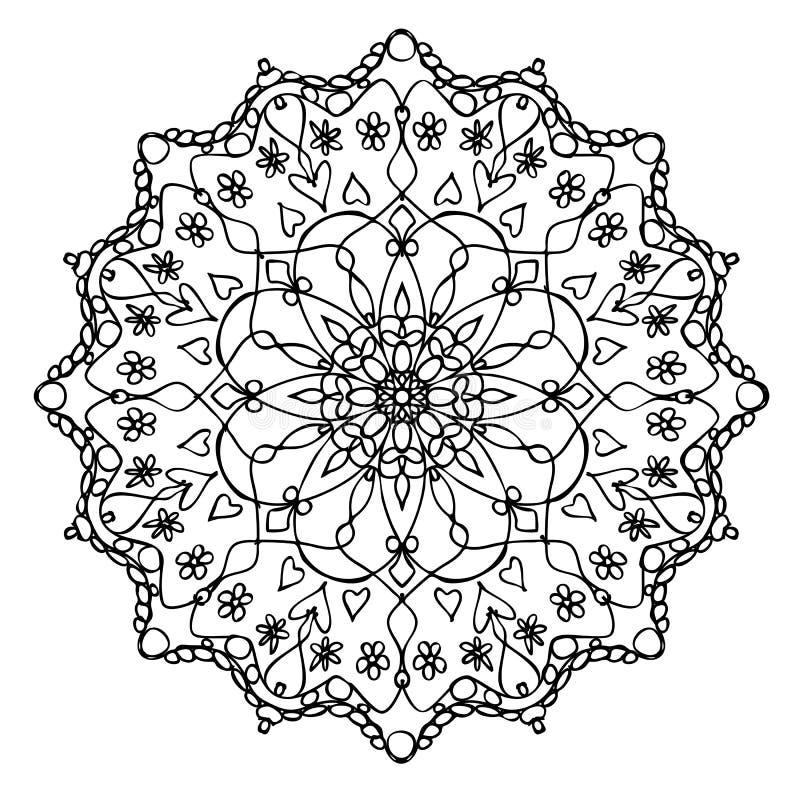 Mandala Black och vit royaltyfri illustrationer
