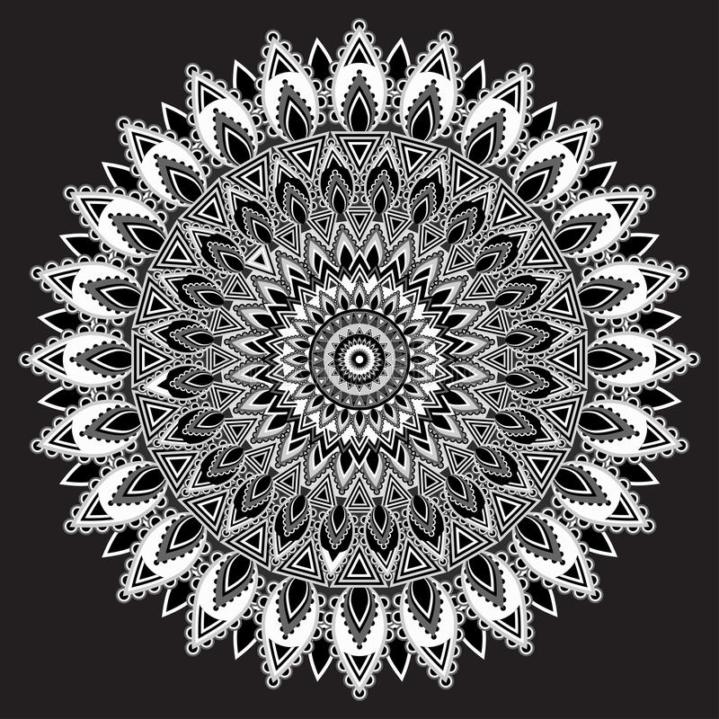Mandala black and white, monochrome Indian ornament. East, ethnic design, oriental pattern, round . For use in fabric , print, tat. Mandala black and white stock illustration