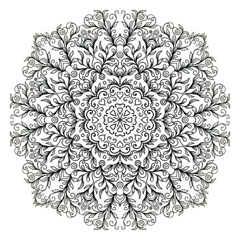 Mandala black and white pattern with floral ornaments stock illustration