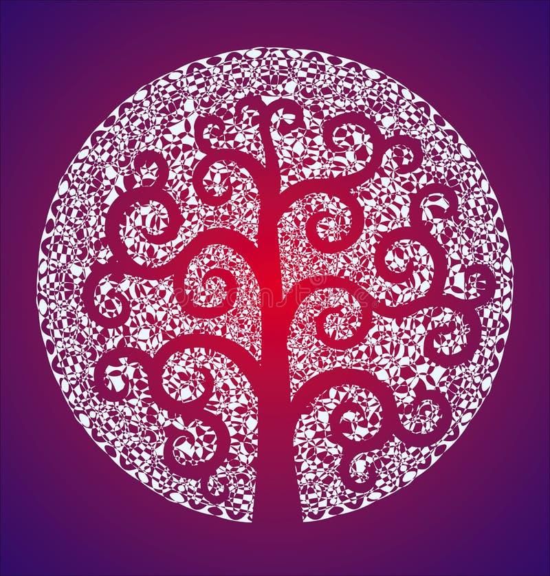 Mandala blanc élégant sensible sur un fond rouge et pourpre et l'arbre de Klimt illustration stock