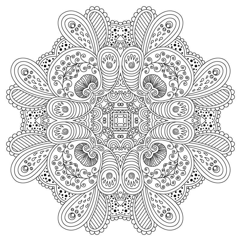 Mandala blanco y negro ilustración del vector