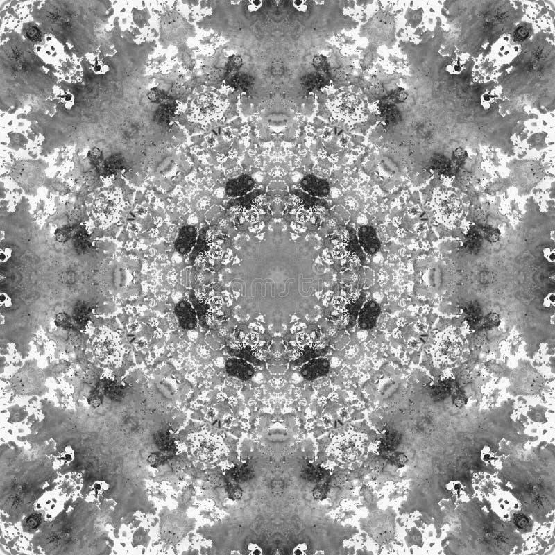 Mandala blanco y negro del Grayscale con textura hecha a mano del arte fotografía de archivo libre de regalías