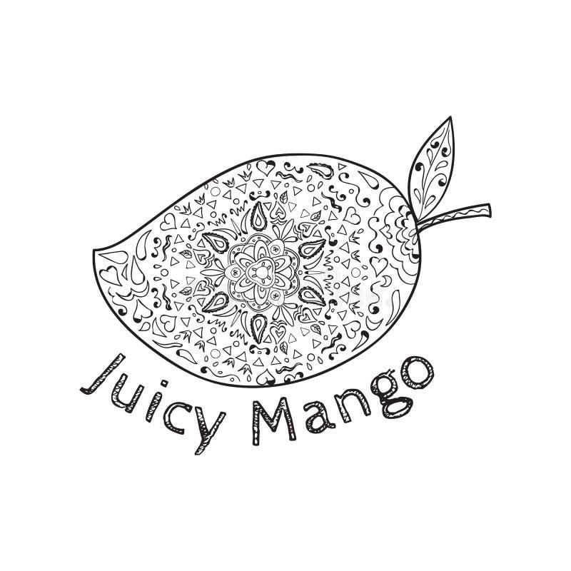 Mandala blanco y negro del mango jugoso ilustración del vector