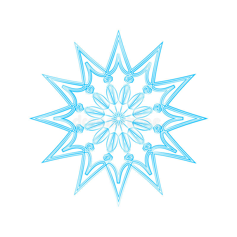 Mandala bleu de flocon de neige photo stock