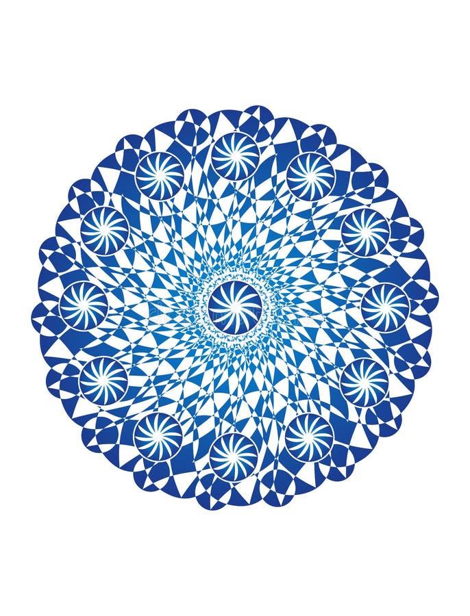 Mandala bleu sur un fond blanc Fond artistique Objet de rotation, fractale Dessins de vecteur illustration de vecteur