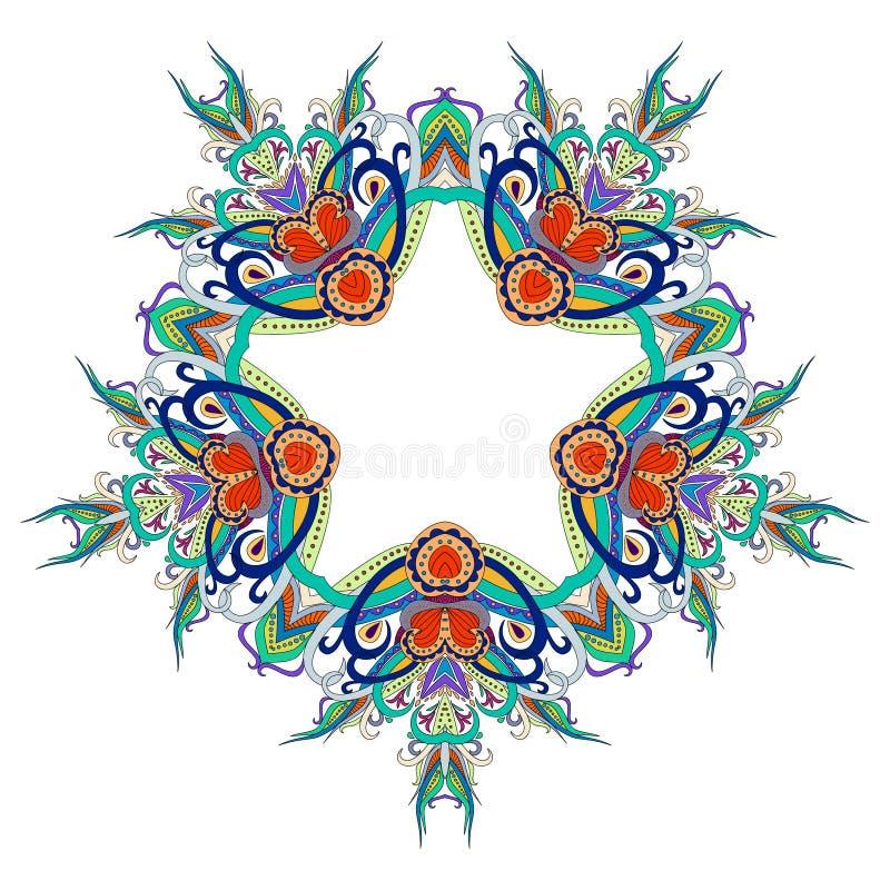 Mandala blom-, blomma, orientalisk mandala, färgläggning och person som tillhör en etnisk minoritet Orientalisk modell, vektorill stock illustrationer