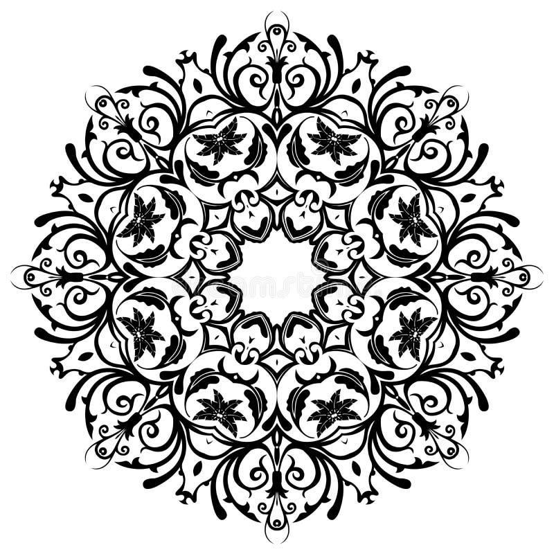 mandala blom- lilja för dekorativa element royaltyfri illustrationer