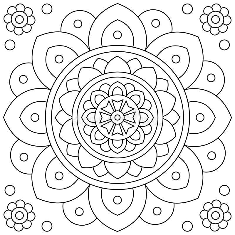 mandala Blomma Färga sidan Svartvit vektorillustration stock illustrationer