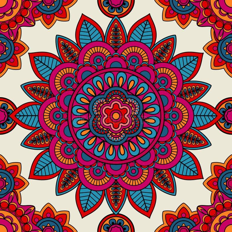 Mandala boho Hand gezeichnetes nahtloses Muster stock abbildung
