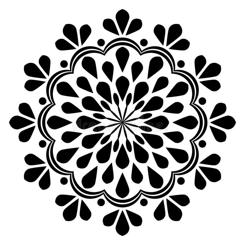 Mandala bonita da decoração do vintage preto e branco abstrato ilustração do vetor