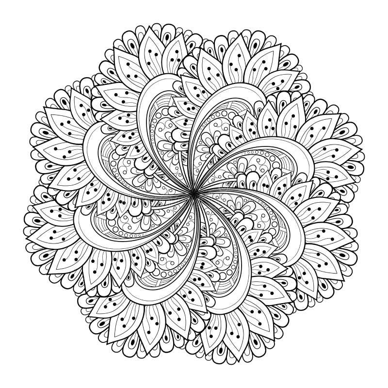 Mandala bonita do preto de Deco do vetor ilustração stock