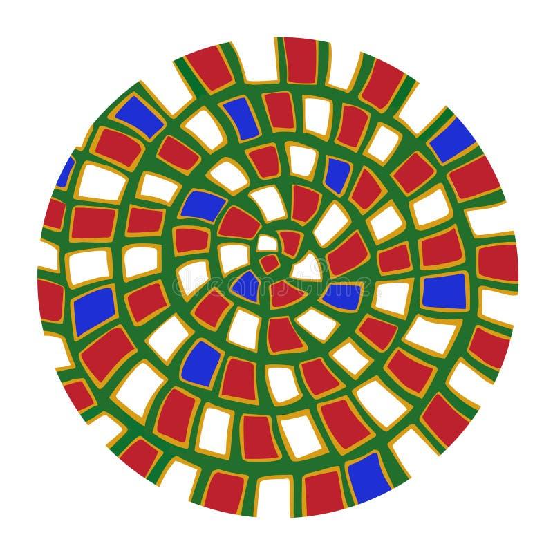Mandala branca vermelha verde do estilo do japanistics da onda ilustração do vetor