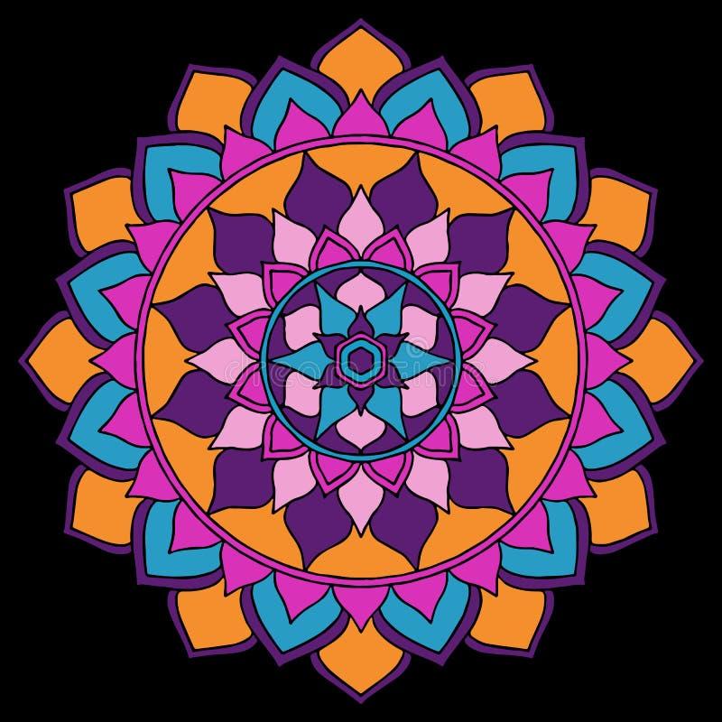 Mandala Bright Orange lila, rosa färger som är blåa på den svarta orientaliska prydnaden royaltyfri illustrationer