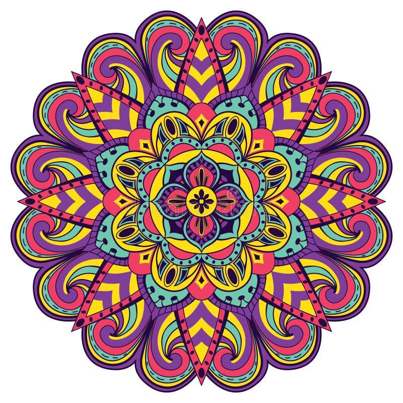 Mandala brillante, festiva ilustración del vector
