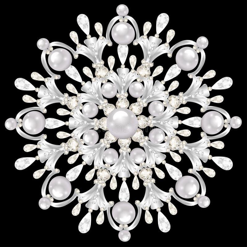 Mandala brooch jewelry, design element. Geometric vintage royalty free illustration