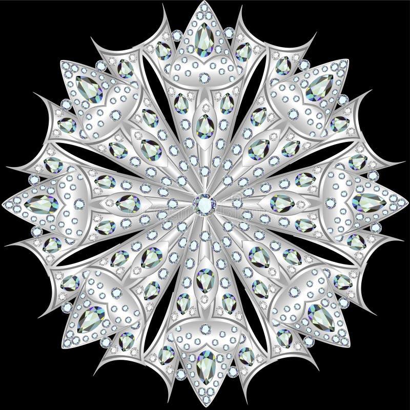 Mandala brooch jewelry, design element with precious stones. Geo stock illustration