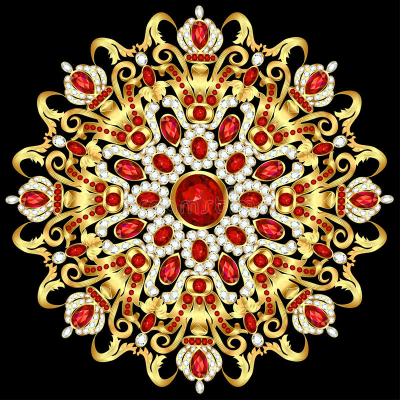 Mandala brooch jewelry, design element. vector illustration