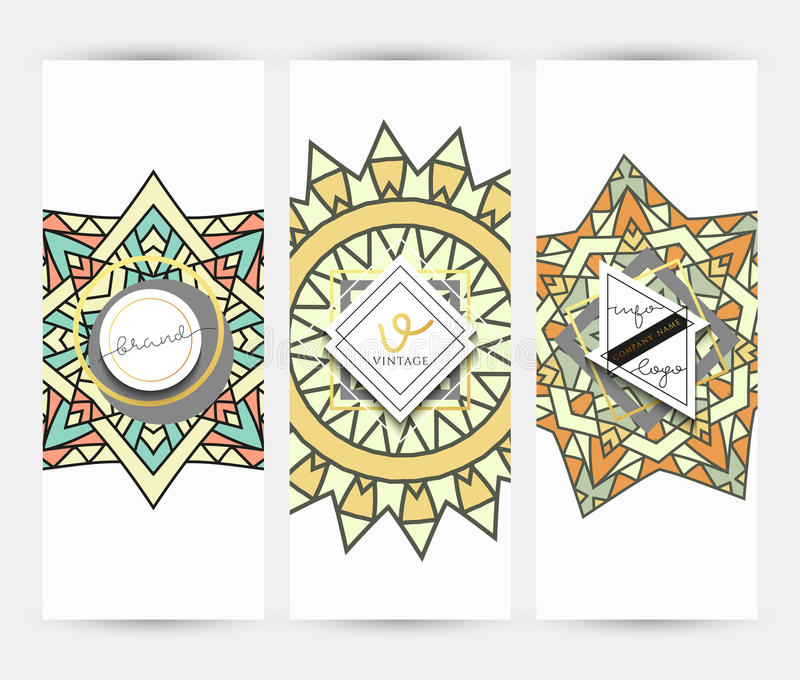 Mandala. Business Card With Ornament Handmade In Retro Colors ...