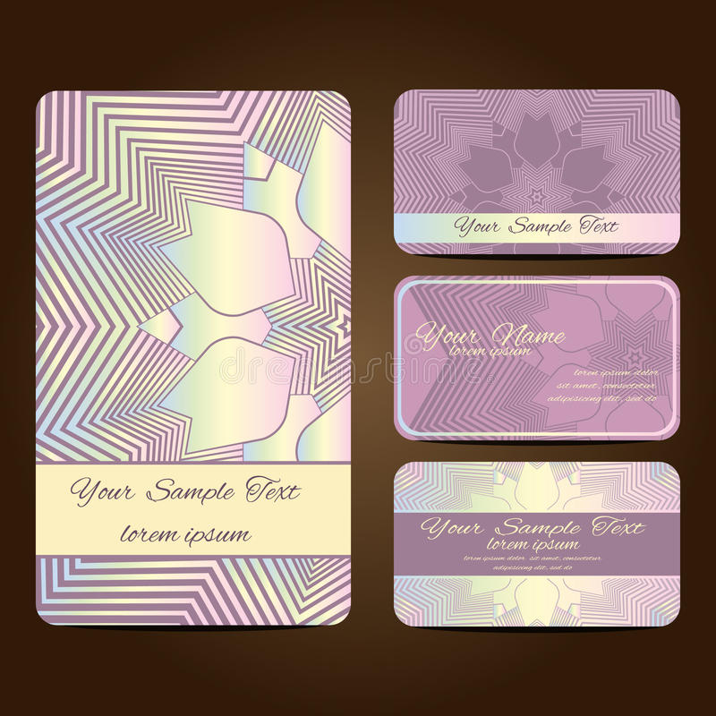 Mandala card7. Set retro business card. Vector background. Card or invitation. Vintage decorative elements. Hand drawn background stock illustration