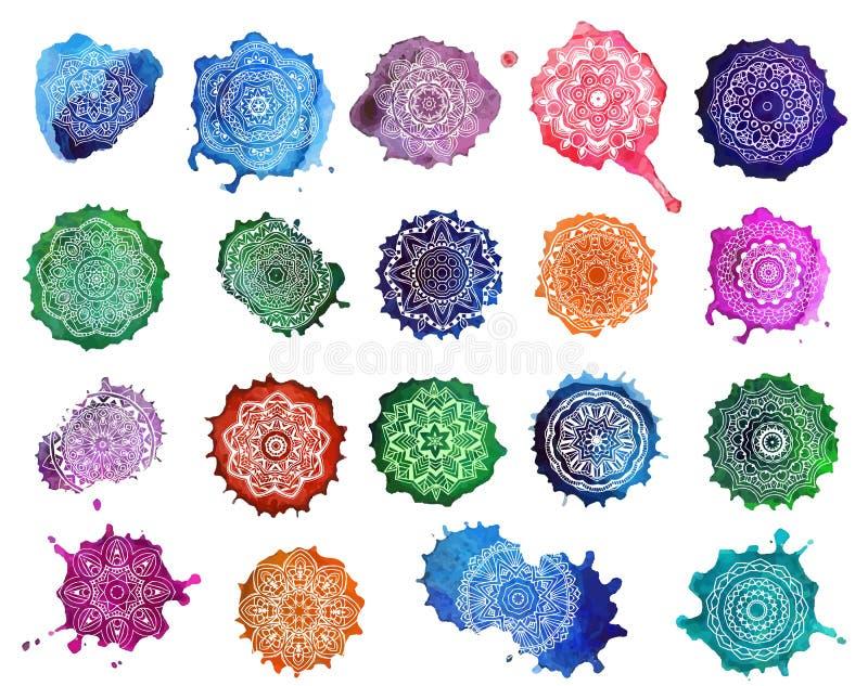 Mandala Card Watercolor fotografia stock