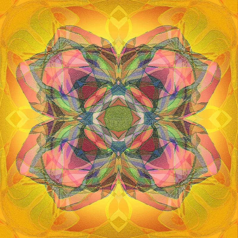 MANDALA CENTRAL CLOVER, TEXTURED IMAGE IN YELLOW, GOLD, PINK, BLUE royalty free illustration