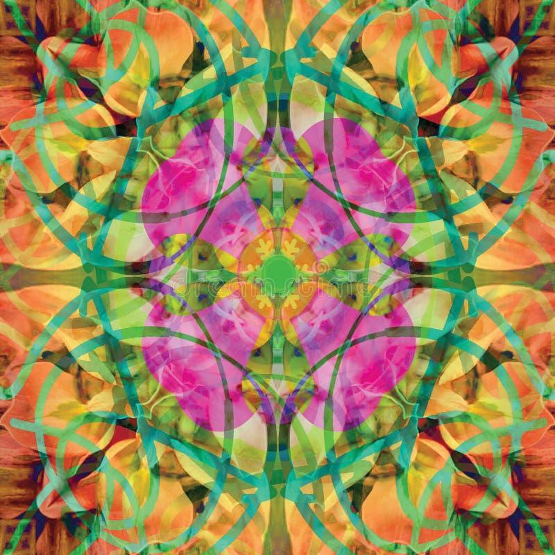 Mandala centrale rosa del fiore in un fondo astratto con l'arancia, colori verdi, verde chiaro, fucsia, gialli, luminosi illustrazione di stock