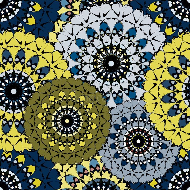 Mandala ciemnego bezszwowego rocznika plemienny bezszwowy wzór royalty ilustracja