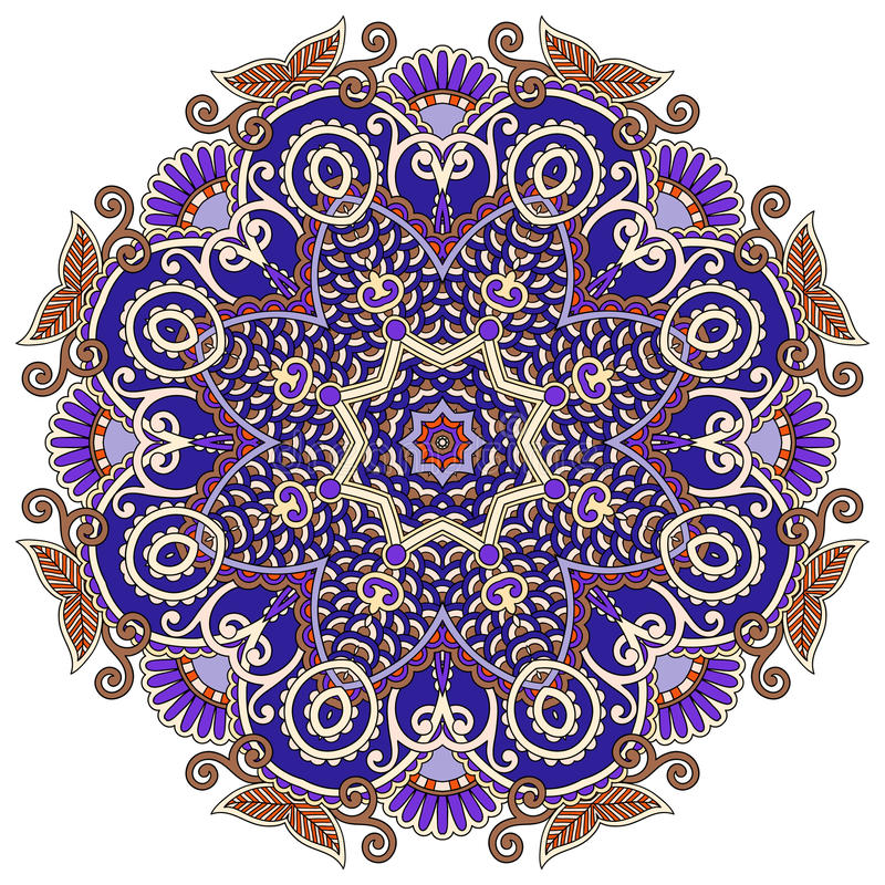 Mandala, circle decorative spiritual indian symbol of lotus flow vector illustration