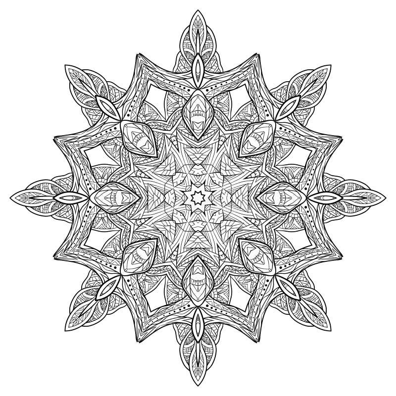 Mandala circular da garatuja branca preta com um teste padrão do boho ilustração royalty free