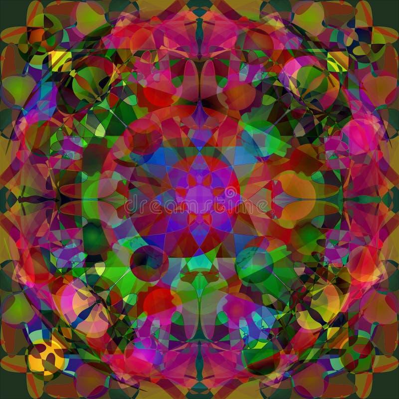 Mandala circular Imagen del caleidoscopio abstraiga el fondo PLATAFORMA BRILLANTE EN EL FUCSIA, ROJO, VERDE, AMARILLO, AZUL ilustración del vector