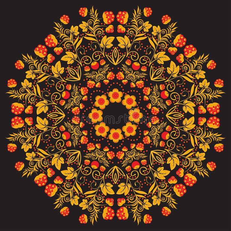 Mandala circular tradicional do teste padrão do russo Vermelho com bagas do ouro em um fundo preto ilustração do vetor