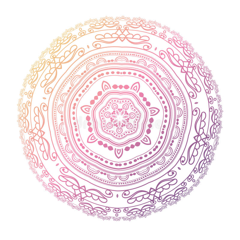 mandala Cirkla modellen i ljus - rosa färg-, violet- och blåttfärger vektor illustrationer